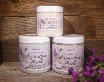 Magnesium Lotion Lavender Mint Great for Eczema & Pain Relief Organic Lavender Mint