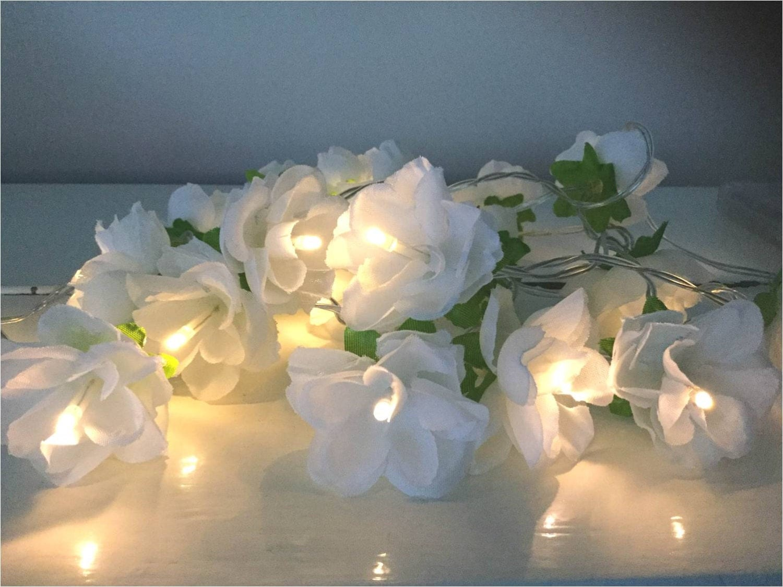 White rose fairy lights shabby chic fairy lights flower for Shabby chic garland lights