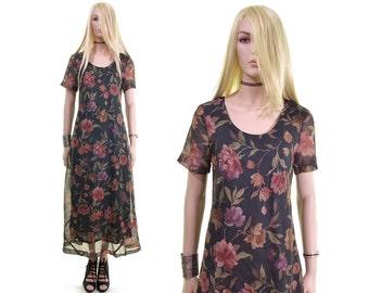dream I had 90s grunge dress grunge revival dress sheer floral dress rose dress artsy dress boho dress maxi hipster dress 90s dress women s