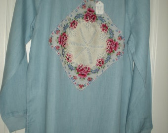 Womens Lt. Weight Denim pullover top with vintage accents