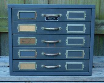 Vintage Neumade 5 Drawer Slide Storage Metal Cabinet Holds 1,250 Slides