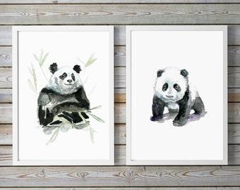 Panda bear art - set of 2 -  baby panda bear Watercolor painting - Giclee Print - panda bear Nursery Animal Painting -  illustration panda