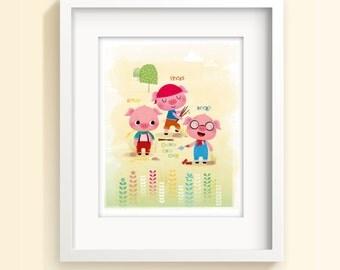 Nursery art, three little pigs, kids illustration, kids room decor, story print, nursery illustration, new baby gift, neutral nursery, print