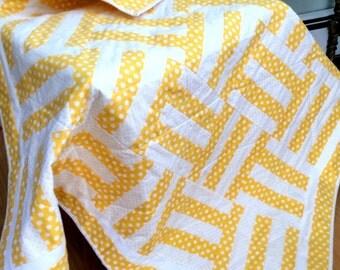 Yellow Baby Quilt Handmade Patchwork Lap Blanket