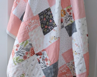 Patchwork Baby Quilt~ Baby Quilts Handmade~Pink & Grey Nursery~Baby Girl Quilt~Coral Nursery~ Woodland Nursery Bedding~ Baby Quilts For Sale