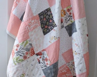 Patchwork Baby Quilt, Baby Quilts Handmade,Pink & Grey Nursery,Baby Girl Quilt,Coral Nursery, Woodland Nursery Bedding, Baby Quilts For Sale