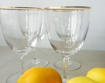 Vintage Val St Lambert Crystal Water Goblets, set of 4   Val Saint Lambert Glamour, gold rim crystal stemware, Belgian crystal glassware