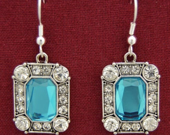 Chantilly's Aqua and Crystal Earrings - 46915