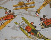 Really Cool vintage Fabric, TWO pieces, Images of Historical Airplanes !  Avocado, gold, orange colors, by House n' Home Fabrics, Excellent