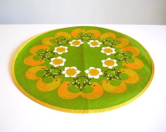 Vintage Cotton Table Topper - Spring Chickens & Flowers