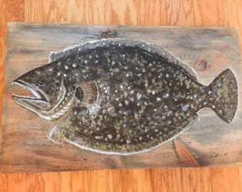 Flounder on reclaimed wood