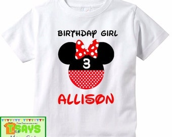 Birthday #17 - Minnie Mouse Personalized Birthday Shirt for Girl