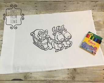Santa with Reindeer and Sleigh Color Your Own Coloring Pillow Case - can be personalized