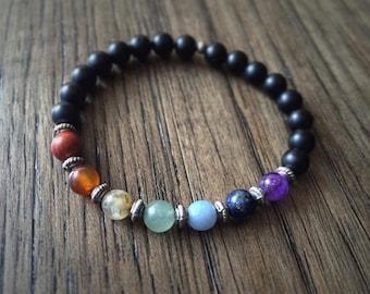 CHAKRA ⋯ Genuine Seven Chakra Natural Gemstone Reiki Healing Meditation Balancing Yoga Yogi Stretch Bracelet