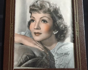 Vintage print of a photograph of Claudette Colbert in Paramount Pictures