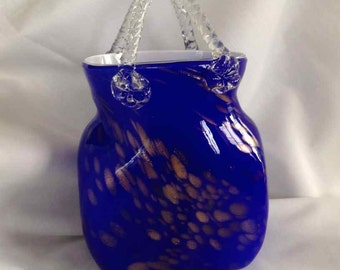 Vintage Cobalt Blue with Gold Droplets Art Glass Vase - 1960's to 1970's