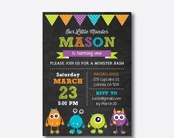 Monster Birthday Invitation, Monster Invitation, Monster Party Invitation, Monster Bash Invitation, Personalized, Chalkboard (CKB.21)