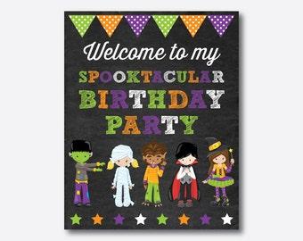 Instant Download, Halloween Welcome Sign, Halloween Birthday Sign, Halloween Door Sign, Halloween Party Printable Sign, Chalkboard (CKB.139)