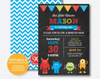 Instant Download, Editable Monster Birthday Invitation, Monster Invitation, Monster Party Invitation, Monster Bash, Chalkboard (CKB.31B)