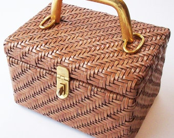 Vintage Woven / Box Style Handbag / Handmade and Never used / Brass Fittings / Adoria