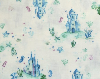 CLEARANCE! Underwater Castles Life Aquatic by Dear Stella, by the half yard, seahorses, ocean, castles, turquoise, teal, pink, blue, white