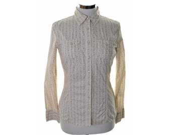 Tommy Hilfiger Womens Blouse Shirt Size 8 Small Beige Floral Cotton