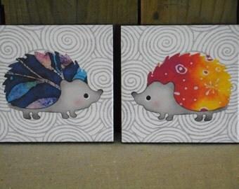 Tile coaster whimsical hedgehogs; print from batik tie dye original design by Boda, set of 2