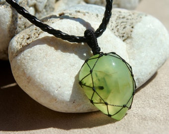 Handmade Prehnite Necklace Drop Medium