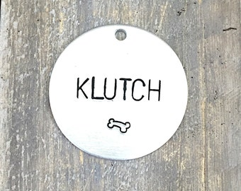 Large Custom Dog Tag with Large Font - Metal Pet ID Tag - Hand Stamped Dog Name Tag - Personalized