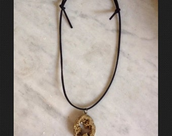 Gold Titanium Druzy Geode Slice Necklace