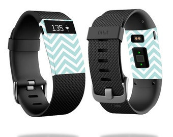 Skin Decal Wrap for Fitbit Blaze, Charge, Charge HR, Surge Watch cover sticker Aqua Chevron