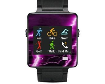 Skin Decal Wrap for Garmin Vivoactive Forerunner, Vivoactive Forerunner Hr Watch cover sticker Purple Lightning