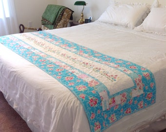Floral Embroidered Bed Runner in Pink and Blue