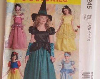 Princess costume/Witch / Childrens / Girls / snow white costume 2007 sewing pattern, Size 3 4 5 6, Bust Chest 22 23 24 25, McCalls P 245