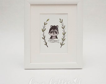 Racoon  |  Woodland Creature Print