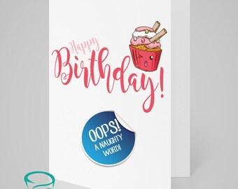 Happy Birthday Twat - cute cupcake, alternative, rude, birthday card