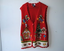 Vintage Ugly Christmas Vest/Sweater Gingerbread Men and House Christmas Tree