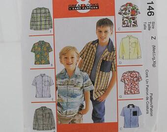 Boys Shirt Pattern, Short or Long Sleeve, McCalls 2146, Uncut Sewing Pattern