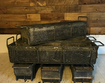 "Set of 4 Vintage industrial wire dipping baskets 25.5"" x 6"" x 6"" perfect for herbs and garden"