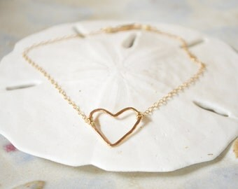 Heart Anklet, Gold Heart Anklet, Small Open Heart Anklet, Gold Chain Anklet