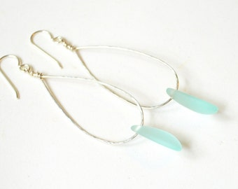 Sea Glass Earrings, Sterling Teardrop Earrings, Sea Foam Sea Glass Earrings, Sea Glass Dangle Earrings, Beachy Earrings