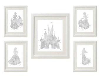 Gray Watercolor Disney Princess silhouette, Cinderella, Sleeping Beauty, Belle, Snow White, Castle, Set of 5, 1-8x10, 4-5x7 INSTANT DOWNLOAD