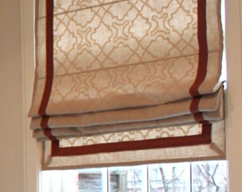 "Flat Roman Shade Esperanza ""Natural"" with border and chain mechanism, custom made"