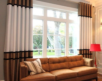 "Custom Combo Drapes ""Saxon"" with black ribbons,solid coloured drapes, Grommet Panels, Drapery Panels, Made-to-Order"