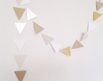 Triangle Garland - Gold Foil Garland - Neutral Garland - Tribal Garland - Garland Backdrop - Neutral Gold Garland - Wedding Garland