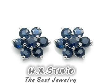 Genuine Blue Sapphire (14 stones) Flower-Shape Sterling Silver Earrings, Silver Sapphire Earrings Studs, Wholesale Available