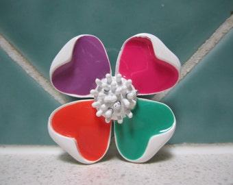 Vintage Ceramic Flower Brooch - Pink - Orange - Green - Purple