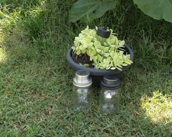 set of 5 BLACK Night mason jar Solar Lids Mason Jar Solar Lanterns mason jar Luminaries Garden Lights Wedding  Crafted