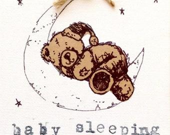 New baby teddy bear canvas