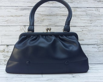 """Vintage Navy Blue 1950's """"BOOTS"""" Classic Leatherette Handbag .By Freedex, Made in Irish Republic."""
